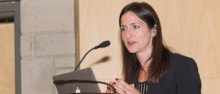 Dr. Sara Seager of M.I.T., presenting her lecture,