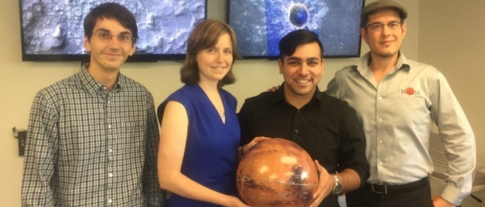 The Western-based team planning HiRISE operations: Eric Pilles, Elise Harrington, Arya Bina, and Dr. Livio Tornabene (left to right).