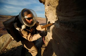 Melissa Battler collecting a sample at the Mars Desert Research Station, Utah.